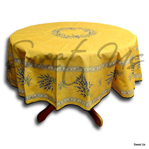 Wipeable Tablecloth French Provencal Acrylic Coated Cotton Lavender Yellow Ecru