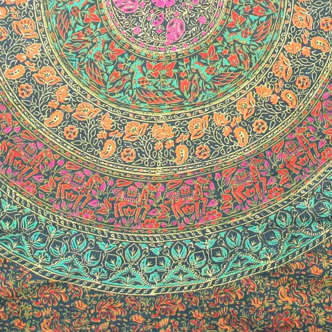 Handmade 100% Cotton Sanganer Mandala Tapestry Spread Queen 108x108 Green