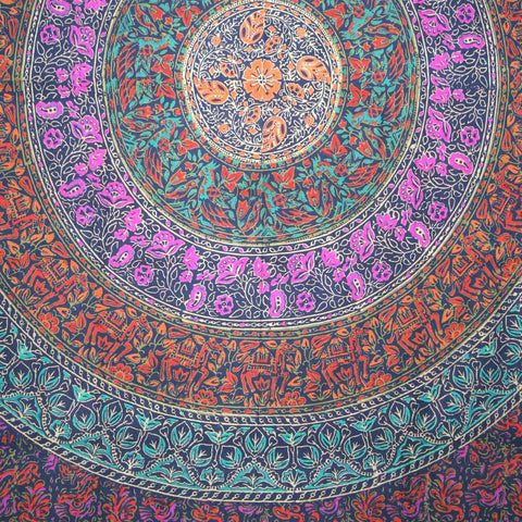 Handmade 100% Cotton Sanganer Mandala Tapestry Spread Queen 108x108 Blue - Sweet Us