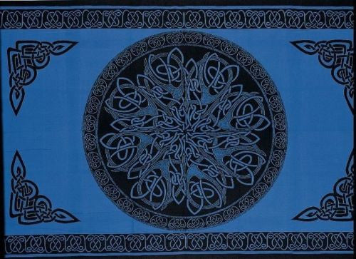 Clearance Sale Handmade 100% Cotton Celtic Circle Wheel Of Life Tapestry Spread Twin Blue - Sweet Us