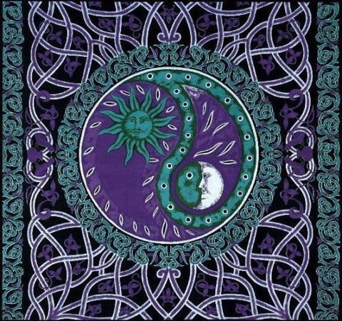 Clearance Sale Handmade Celtic Celestial Yin Yang 100% Cotton Tapestry Bedspread Purple Full - Sweet Us