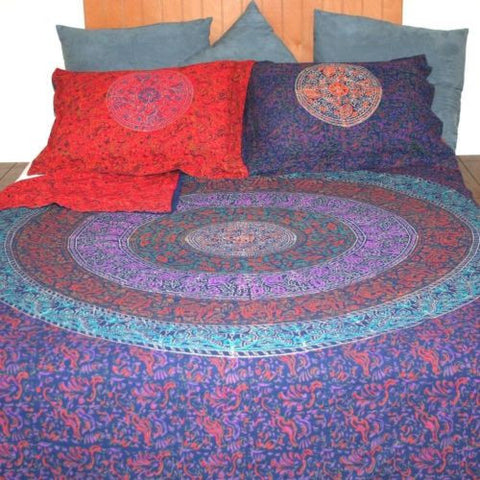 CLEARANCE Reversible Duvet Cover Cotton Handmade Mandala Block Print Full Queen - Sweet Us