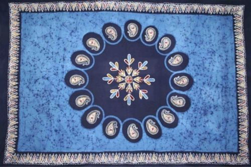 Handmade Multi Batik PaisleyTapestry Tablecloth Bedspread 100% Cotton Blue Full - Sweet Us