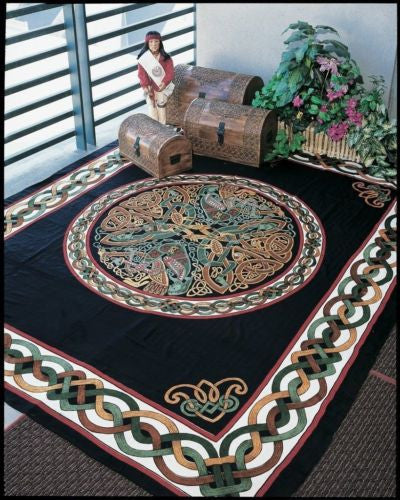 Handmade 100% Cotton Celtic Wheel of Life Tapestry Bedspread Black Tan Full - Sweet Us