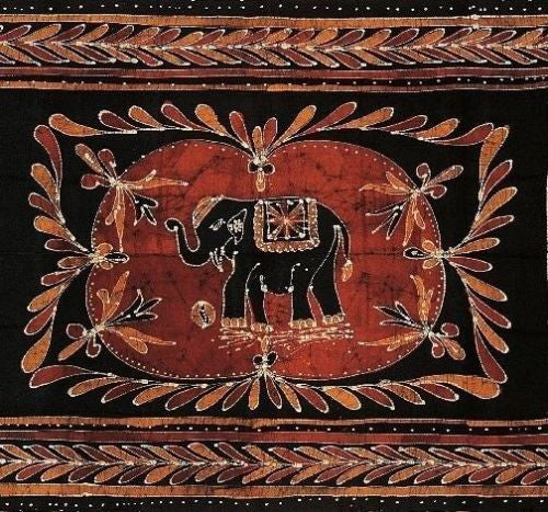Lucky Elephant Batik Print Tapestry Wall Hanging Tablecloth Spread Throw Full - Sweet Us