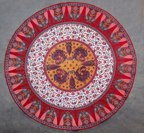 "Clearance Handmade Floral Peacock 72"" Round 100% Cotton Tablecloth Astonishing Red - Sweet Us"