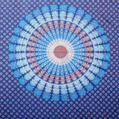 Handmade Sanganer Peacock Mandala 100% Cotton Tapestry Tablecloth Spread Full