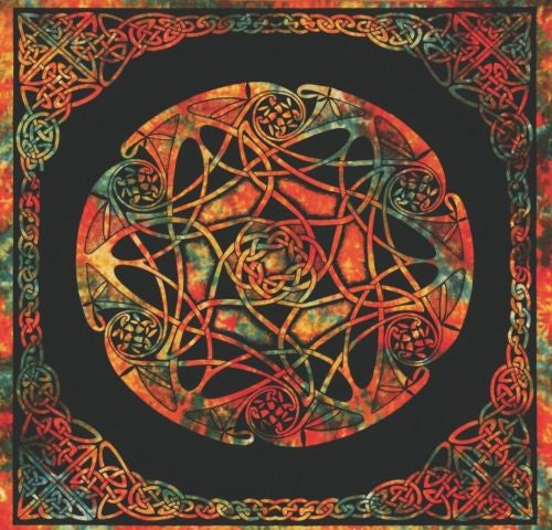 Handmade Celtic Wheel of Life Tie Dye Tapestry Tablecloth Spread Full 88x104 - Sweet Us