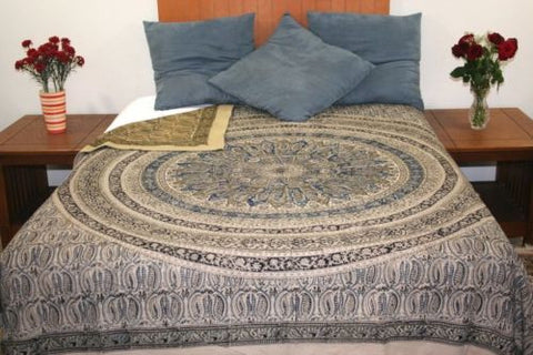 Reversible Duvet Cover Vegetable Dye Block Print Mandala Design Full Queen - Sweet Us