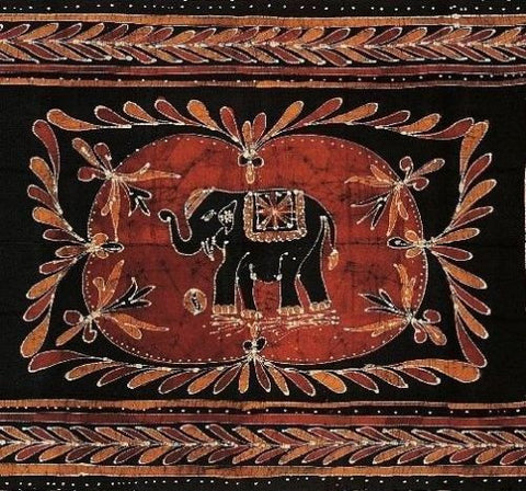 Lucky Elephant Batik Print Tapestry Wall Hanging Tablecloth Spread Throw Queen - Sweet Us