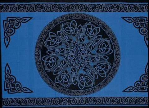 Handmade 100% Cotton Celtic Circle Wheel Of Life Tapestry Spread Twin Blue - Sweet Us