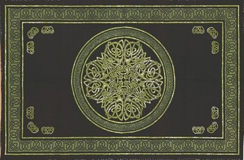 Clearance Sale Handmade Cotton Celtic Circle Wheel Of Life Tapestry Spread Full Green Black - Sweet Us