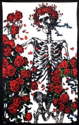 Handmade Cotton Grateful Dead Skeleton 'n Roses Tapestry Bedspread 60x90 Reds