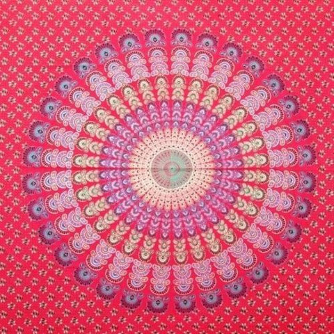 Clearance Sale Handmade 100% Cotton Sanganer Peacock Mandala Tapestry Tablecloth Spread Full
