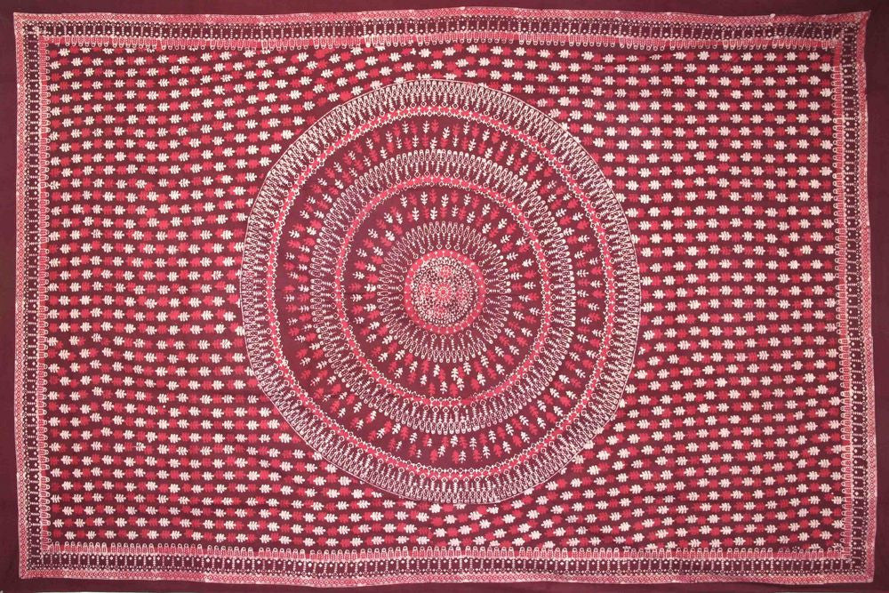 Handmade Cotton Batik Tulsi Leaf Mandala Tapestry Tablecloth Spread Red Queen - Sweet Us