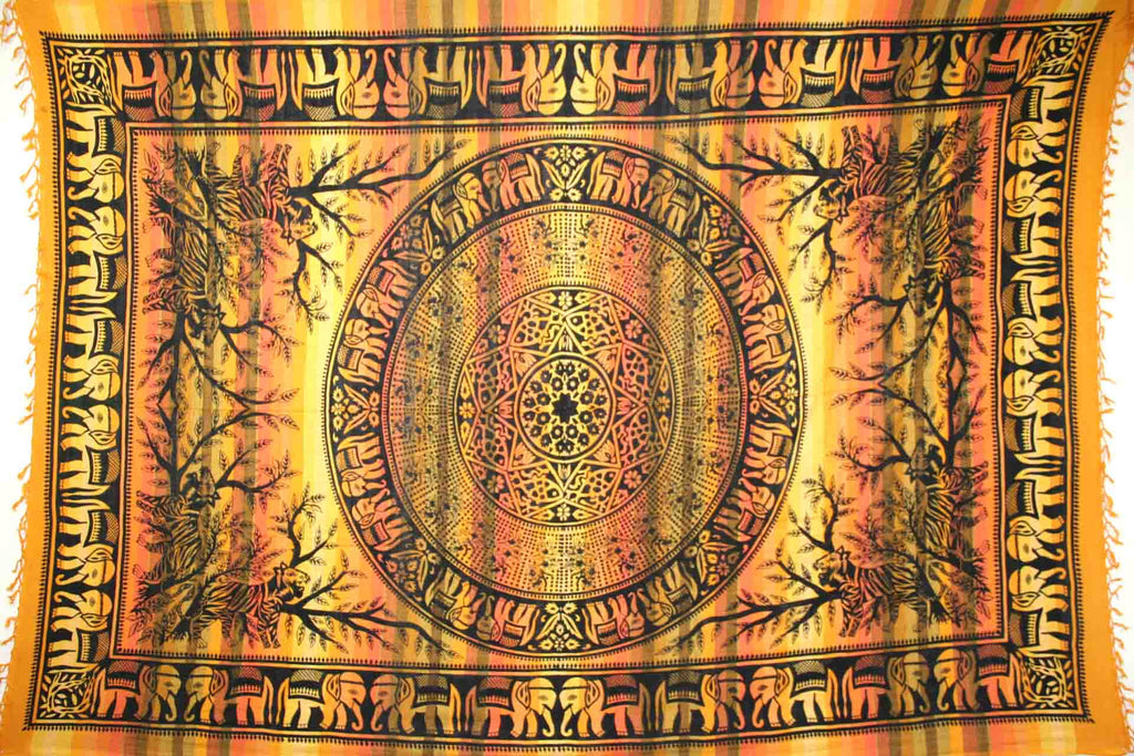 Handmade Cotton Mandala Elephant Overprint Striped Tapestry Coverlet Yellow Twin - Sweet Us