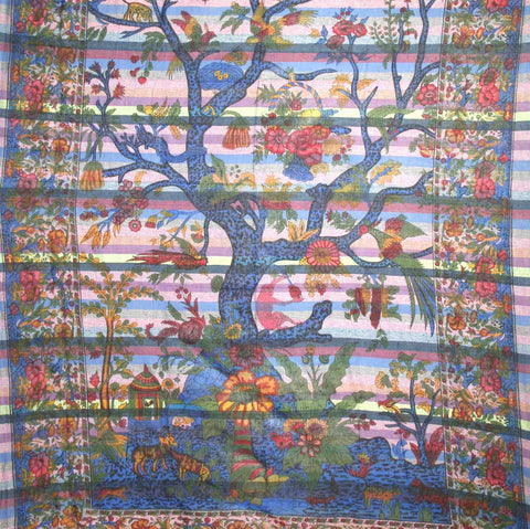 Handmade Cotton Tree of Life Overprint Striped Tapestry Spread Throw Purple Full