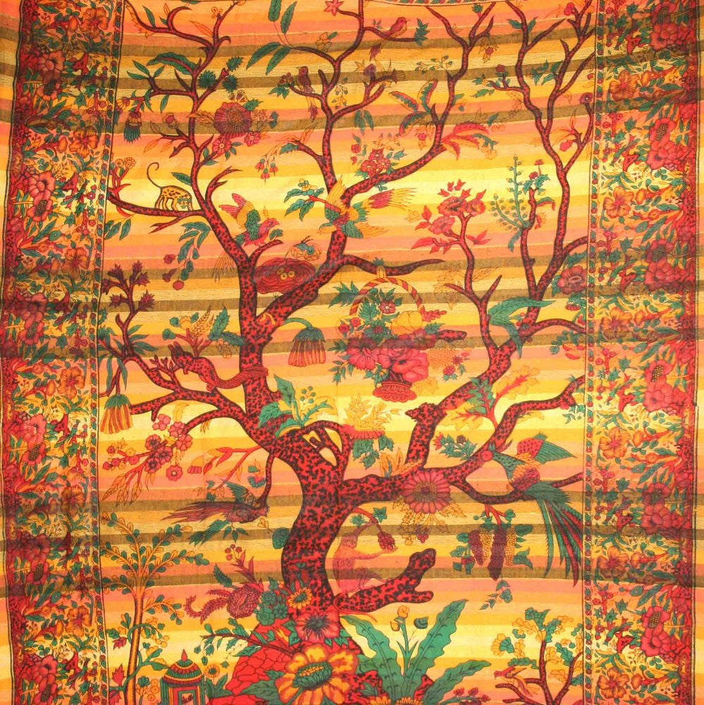 Handmade Cotton Tree of Life Overprint Striped Tapestry Spread Throw Yellow Full - Sweet Us