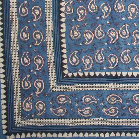 Handmade Cotton Block Print Dabu Paisley Floral Tapestry Tablecloth Spread Queen - Sweet Us