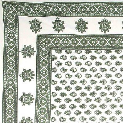 Handmade 100% Cotton Monotone Buti Floral Tapestry Tablecloth Spread Twin Green - Sweet Us