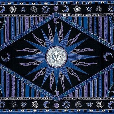 Clearance Handmade 100% Cotton Celestial Sun Moon Star Tapestry Coverlet Throw Twin Purple - Sweet Us