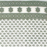 Handmade 100% Cotton Monotone Buti Floral Tapestry Tablecloth Spread Twin Green
