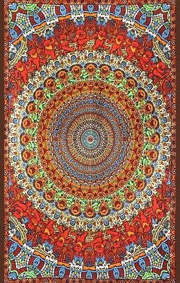 Handmade Cotton Grateful Dead Tapestry Psychedelic Bear Vibrations 60x90 w/loops - Sweet Us