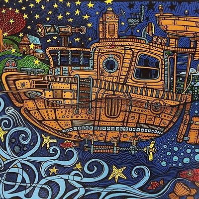 Handmade 100% Cotton 3D Steampunk Tugboat  Tapestry Tablecloth Spread Twin 60x90 - Sweet Us