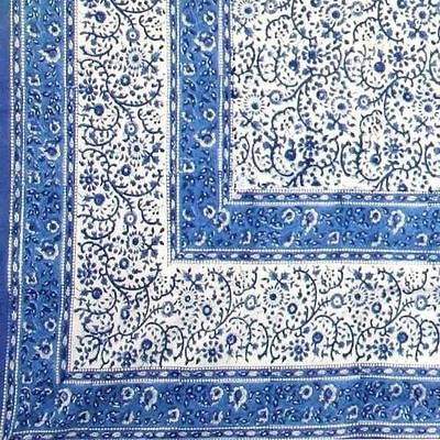 Clearance Sale Handmade Floral Rajasthan Block Print Tablecloth 100% Cotton 60x90 Rectangular