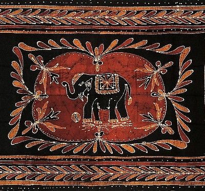 Clearance Sale  Lucky Elephant Batik Print Tapestry Wall Hanging Tablecloth Spread Throw Twin