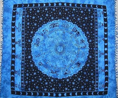 Heavy Handmade 100% Cotton Astrological Zodiac Symbol Tapestry Spread Blue Full - Sweet Us