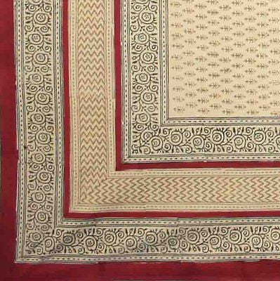 CLEARANCE 100% Cotton Rectangular Handmade Bagru Block Print Tablecloth 60x90