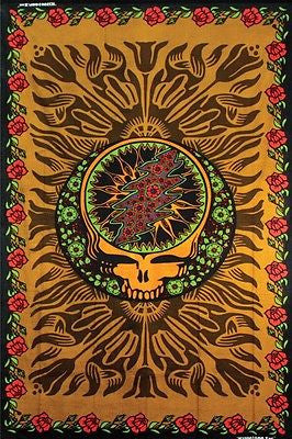 Handmade Grateful Dead Steal Your Face Roses Hippie Tapestry Wall Art Hang Brown - Sweet Us