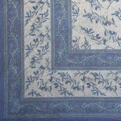 CLEARANCE SALE Border Vine Tablecloth Throw Spread Cotton 60X60 Square Blue Grey