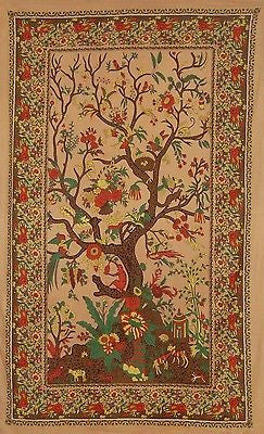 Handmade 100% Cotton Tree of Life Tapestry Tablecloth Spread Dorm Twin w/Loops - Sweet Us
