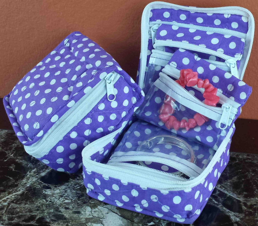 Handmade Quilted 100% Cotton Cosmetic Organizer Jewelry Bag Travel Pouch Polka Dot Purple