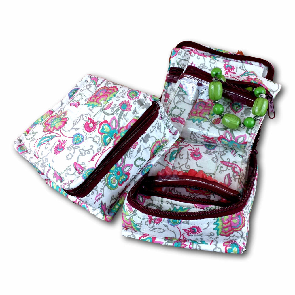 Handmade Quilted 100% Cotton Cosmetic Bag Jewelry Bag Travel Pouch Floral Pink Green - Sweet Us
