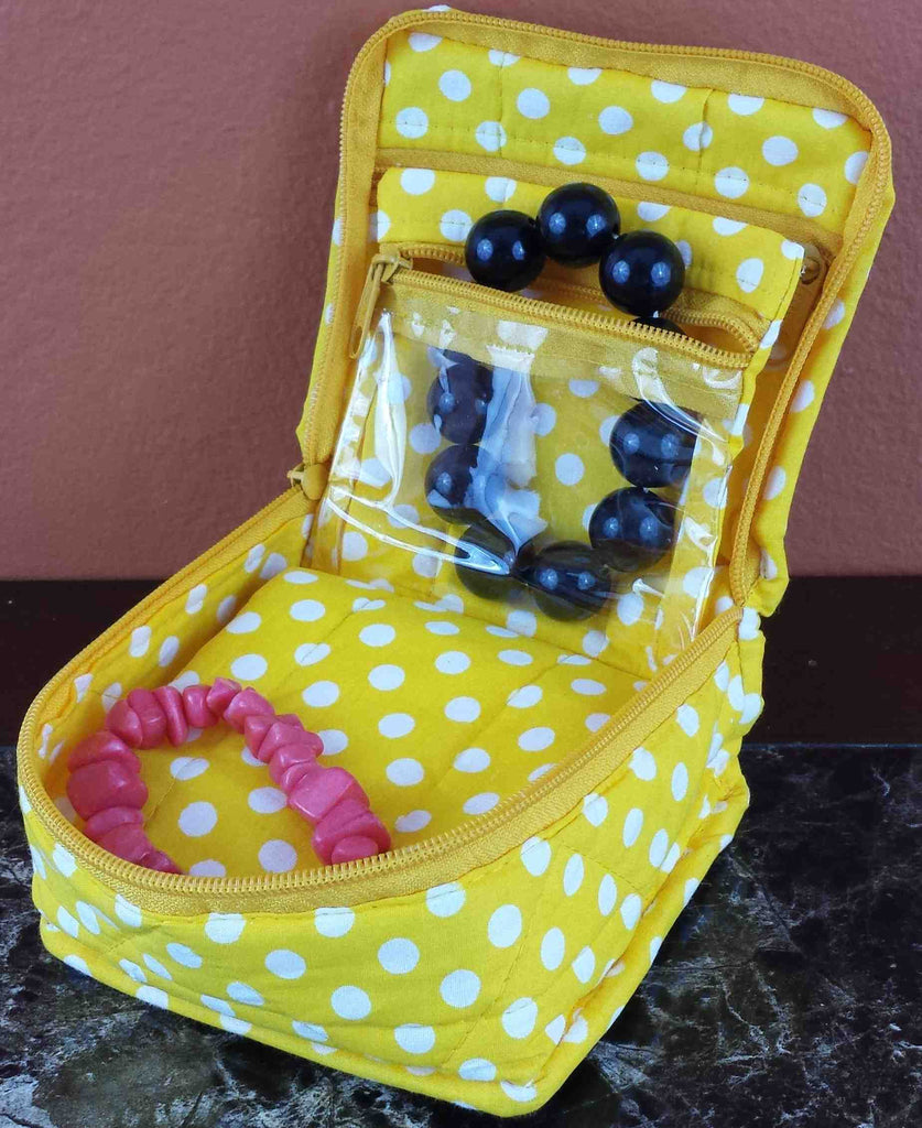 Handmade Quilted 100% Cotton Cosmetic Organizer Jewelry Bag Travel Pouch Polka Dot Yellow - Sweet Us