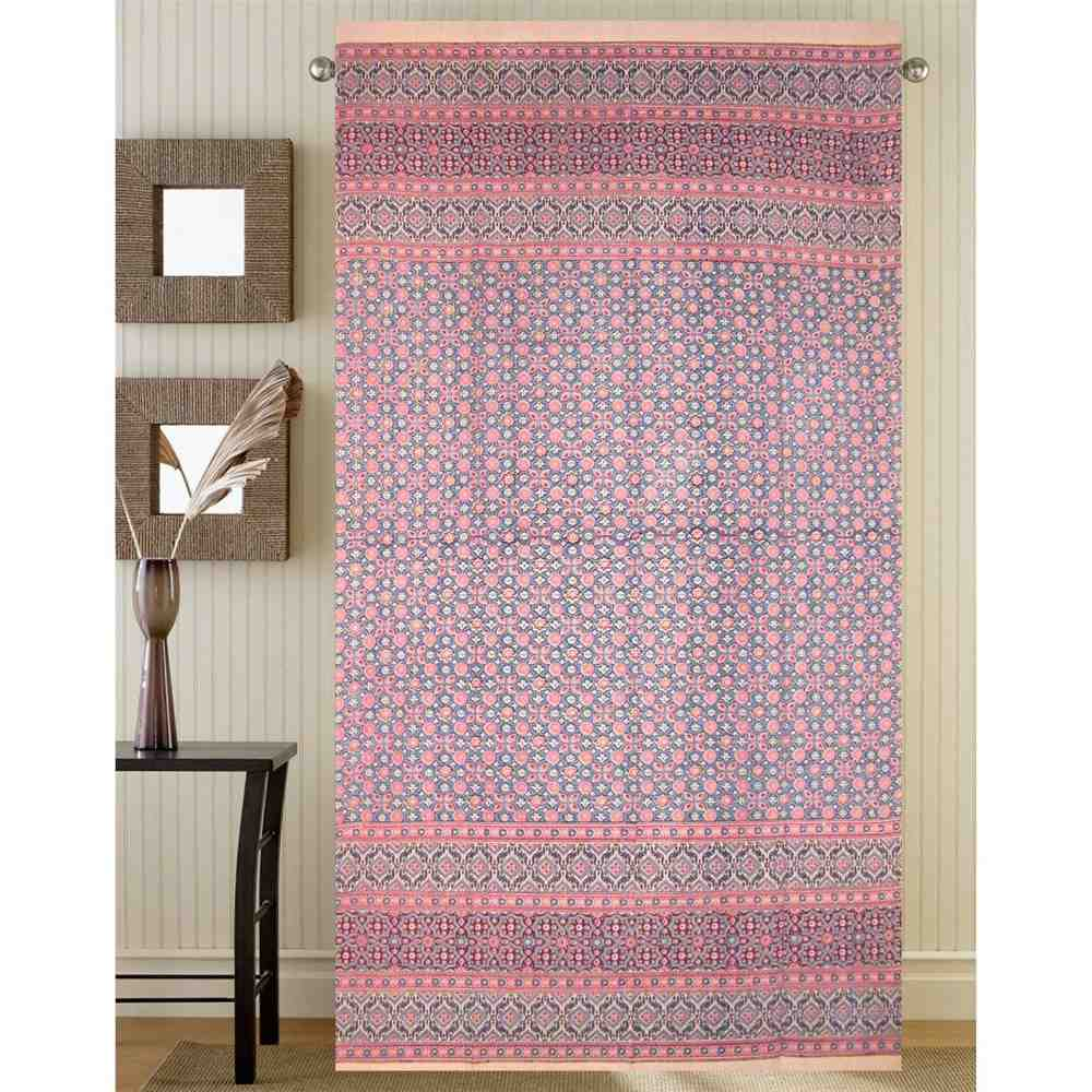 Morocaan Foulard Floral Curtain Cotton Drape Door Panel Pink Rod Pocket 46 x 82 - Sweet Us