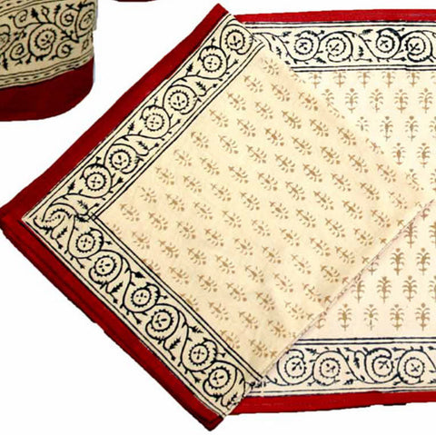 Handmade 100% Cotton Hand Block Print Bagru Buti Floral Napkin Table Linen