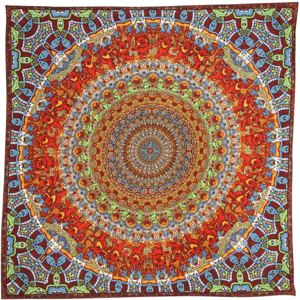 Unique Handmade Cotton Grateful Dead Vibrating Bear Mandala Bandana Scarf 22x22 - Sweet Us