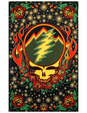 Grateful Dead Steal Your Face Tapestry with Roses Hippie Hanging Wall Art Scarlet Fire