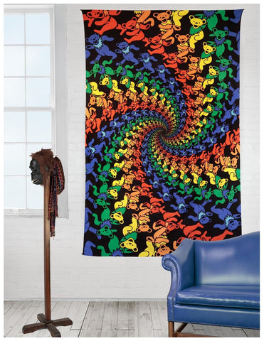 Handmade 100% Cotton Grateful Dead Tapestry Wall Hang 3D Dancing Bear in a Spiral 60x90 - Sweet Us