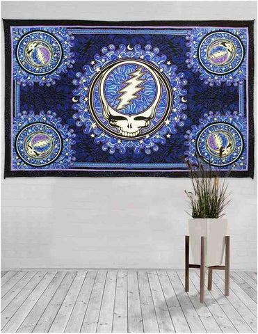 Grateful Dead Steal Your Face Tapestry Wall Hanging Beach Sheet Blue Black - Sweet Us
