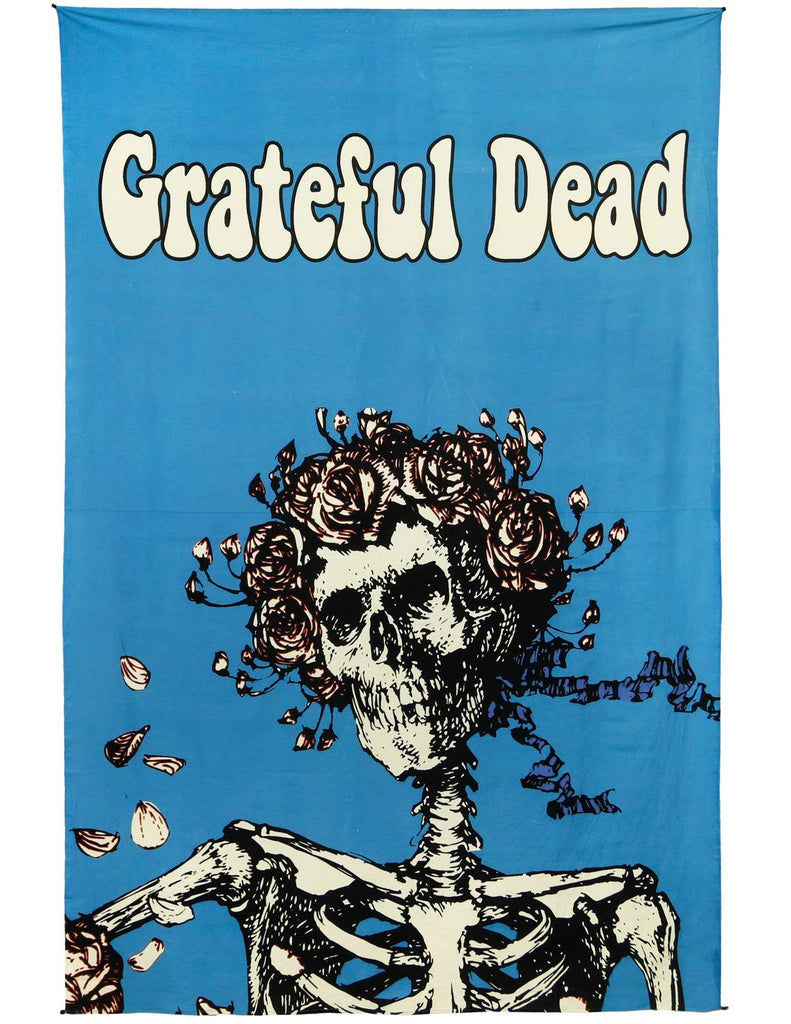 Grateful Dead Tapestry 3D Bertha Skull and Roses Tablecloth Beach Sheet 60x90