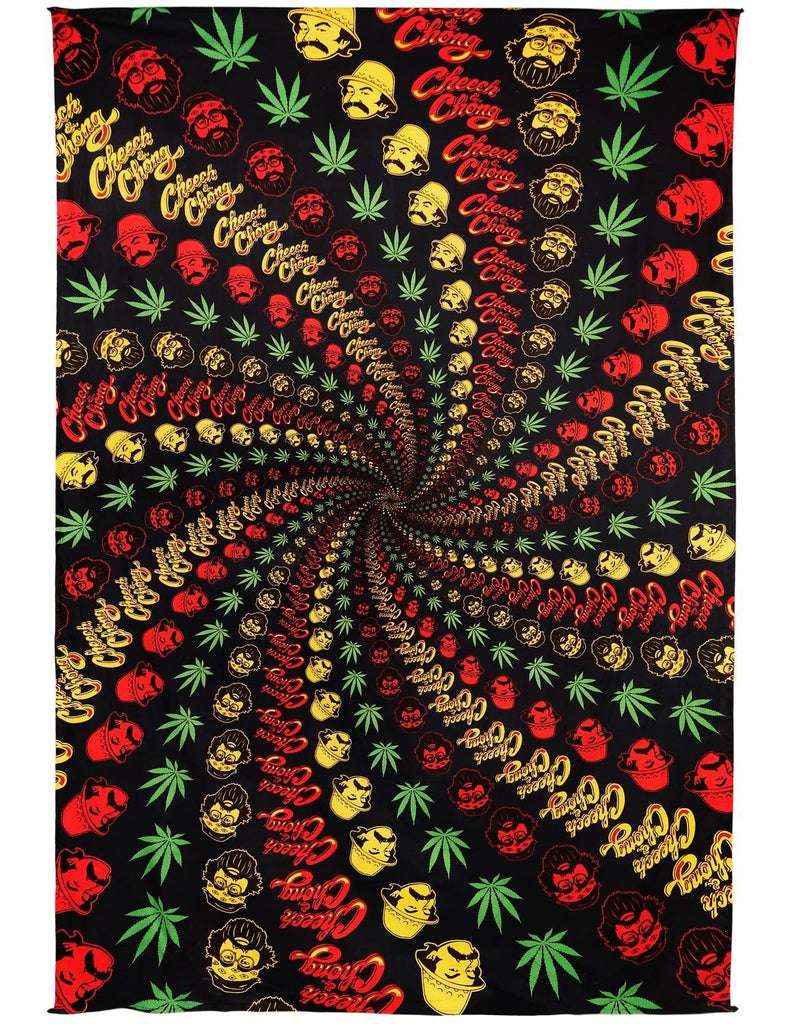 Handmade Cotton 3D Cheech & Chong Rasta Spiral Tapestry Tablecloth Spread 60x90 Inches - Sweet Us