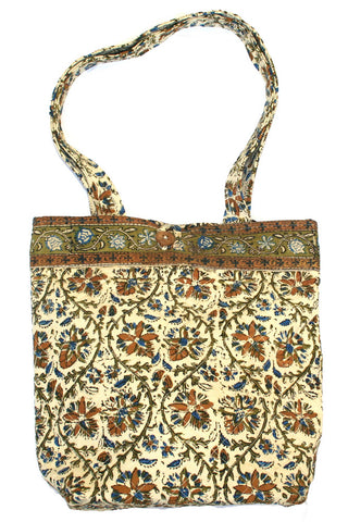 Handmade Cotton Kalamkari Block Print Structured Shopping Work Tote Bag 14x14