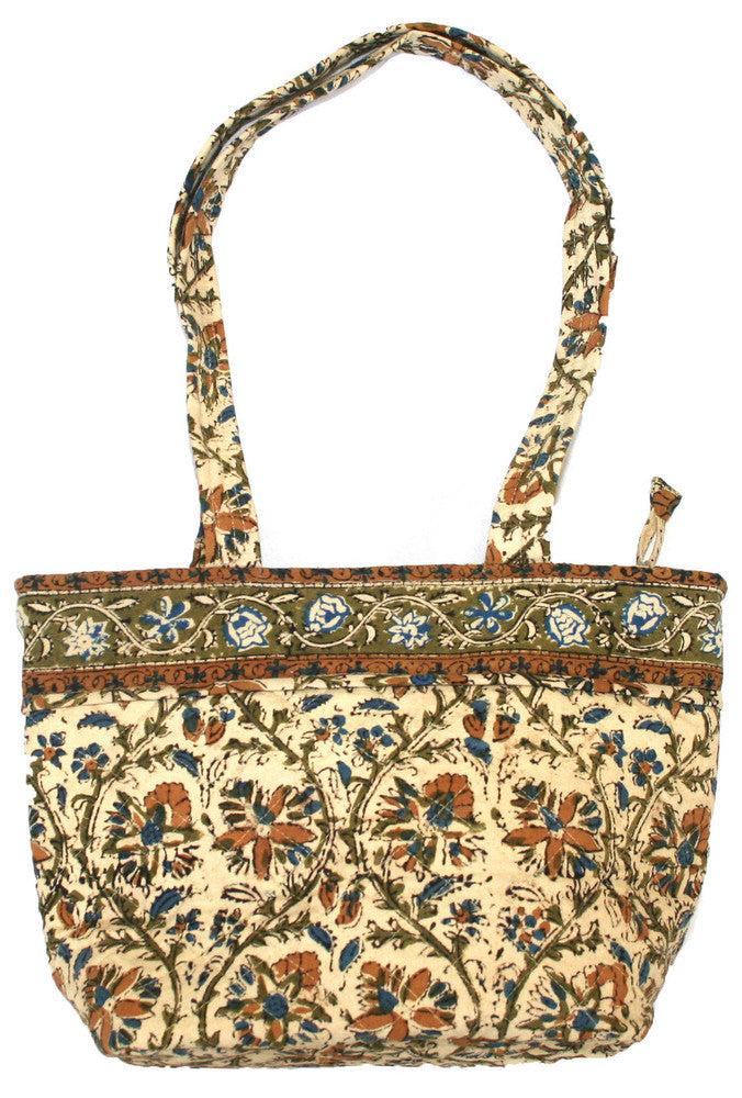 Handmade Cotton Kalamkari Block Print Shopping Work Tote Handbag 13x9 - Sweet Us