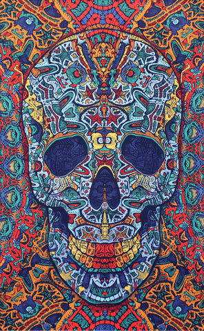 Handmade 100% Cotton Psychedelic 3D Skull Tapestry Tablecloth Bedspread 60x90 - Sweet Us