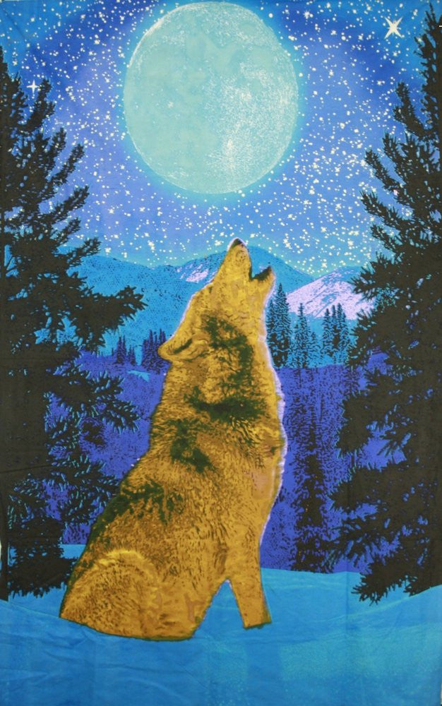 Handmade Cotton Glow In The Dark Full Moon Wolf Tapestry Tablecloth